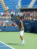 Professional tennis player Roger Federer practices for US Open Stock Images