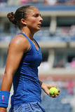 Professional tennis player Sara Errani during fourth round match at US Open 2014 Stock Images