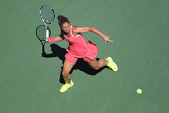 Professional tennis player Sara Errani of Italy in action during her round four match at US Open 2015 Royalty Free Stock Image