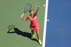 Professional tennis player Sara Errani of Italy in action during her round four match at US Open 2015 Royalty Free Stock Photography