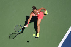 Professional tennis player Sara Errani of Italy in action during her round four match at US Open 2015 Royalty Free Stock Photos