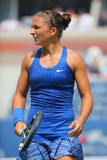 Professional tennis player Sara Errani during match at US Open 2014 Royalty Free Stock Photo