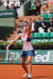 Professional tennis player Silvia Soler Espinosa of Spain in action during her second round match at Roland Garros Royalty Free Stock Image