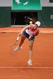 Professional tennis player Silvia Soler Espinosa of Spain in action during her second round match at Roland Garros Royalty Free Stock Photo