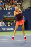 Professional tennis player Simona Halep of Romania in action during her third round match at US Open 2015 Stock Photo