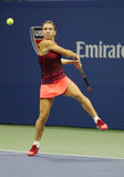 Professional tennis player Simona Halep of Romania in action during her third round match at US Open 2015 Royalty Free Stock Photography