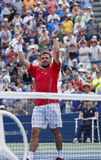 Professional tennis player Stanislas Wawrinka celebrates victory after third round match at US Open 2013 Royalty Free Stock Photos