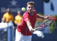 Professional tennis player Stanislas Wawrinka during semifinal match at US Open 2013 Stock Photo