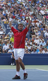 Professional tennis player Stanislas Wawrinka during third round match at US Open 2013 Royalty Free Stock Photos