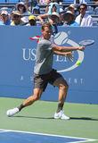 Professional tennis player Tomas Berdych from Czech Republic practices for US Open 2013. FLUSHING, NY - AUGUST 24:  Professional tennis player Tomas Berdych from Royalty Free Stock Photo