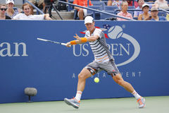 Professional tennis player Tomas Berdych from Czech Republic during US Open 2014 round 3 match. NEW YORK - AUGUST 31, 2014: Professional tennis player Tomas Stock Photo