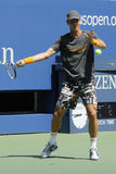 Professional tennis player Tomas Berdych practices for US Open 2014 at Billie Jean King National Tennis Center Stock Photos
