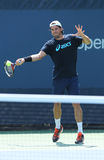 Professional tennis player Tommy Haas from Germany  practices for US Open 2013 Stock Photos
