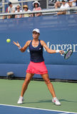 Professional tennis player Varvara Lepchenko of United States in action during second round match at US Open 2015 Royalty Free Stock Images