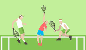 Professional tennis players on the tennis court. Strokes with a Royalty Free Stock Photos