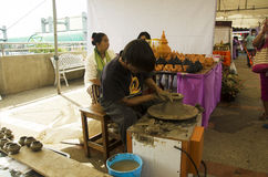 Professional thai old man using mechanic pottery made earthenwar Stock Images