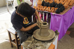 Professional thai old man using mechanic pottery made earthenwar Royalty Free Stock Photography
