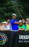 Professional Tiger Woods. Tiger Woods holds his stance as he watches his shot at the PGA Tour event Royalty Free Stock Image