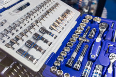 Professional toolbox, heads and ratchets closeup Stock Images