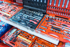 Professional toolboxes, toolkits for auto service Stock Images