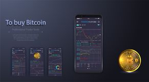 Professional trader tools for successful trading. elements pack. Infographic elements. Bitcoin digital currency, futuristic. Digital money, technology worldwide Royalty Free Stock Images
