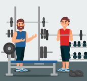 Trainer holds training session with young man. Guy doing exercise with barbell. Gym equipment on background. Flat vector royalty free illustration