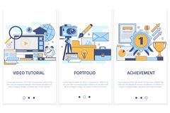 Professional training, education. Portfolio. Achievement of high goals concept video tutorial.Modern thin line flat. Vector design elements, symbols, icons for Stock Photography