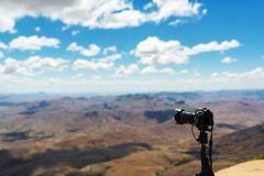 Professional travel on location photographing landscape outdoor. Stock Images