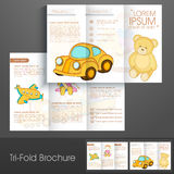 Professional Tri-Fold flyer, template or brochure for toys business. Royalty Free Stock Image