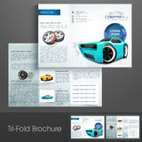 Professional trifold brochure or flyer for automobile s. Professional trifold brochure, flyer or catalog for automobile sector Royalty Free Stock Photos