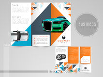 Professional trifold brochure, flyer or catalog for automobile s Royalty Free Stock Images