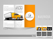Professional trifold for transport business. Professional trifold brochure, catalog and flyer for transport business purpose Stock Image