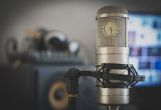 Professional tube condenser microphone. Professional tube condenser microphone in the record studio Stock Photography