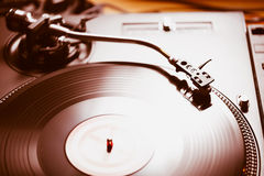 Professional turntable audio vinyl record music player Stock Photography