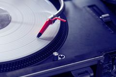 Professional turntable playing vinyl record. Top-class spherical needle on professional turntable vinyl record player Stock Photography