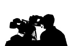 Professional TV cameraman with headphones silhouette. Royalty Free Stock Image