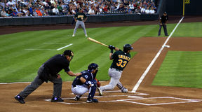 Free Professional Umpire, Catcher, And Batter At Work Stock Image - 4855511