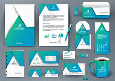 Professional universal blue branding design kit with  origami element. Corporate identity template, business stationery mock-up for real estate company Stock Photography