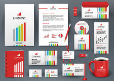 Professional universal branding design kit with color lines. Corporate identity template, business stationery mock-up for investment company. Editable vector Stock Photos