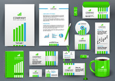 Professional universal branding design kit with green and blue lines. Corporate identity template, business stationery mock-up. Green and blue colors. Editable Stock Image