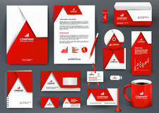 Professional universal red branding design kit with  origami element. Corporate  identity template, business stationery mock-up for real estate company Stock Photography