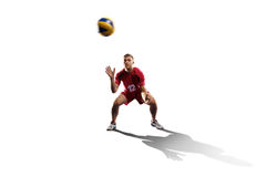 Professional valleyball player isolated on white Royalty Free Stock Photo
