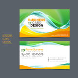 Professional vector business card set. Template design with green and orange Royalty Free Stock Image