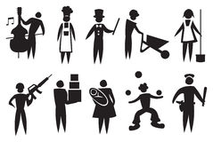 Professional Vector Icon Man Set. Vector illustration depicting different professions. Black and white icon man set Royalty Free Stock Photography
