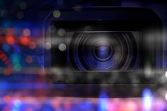 Professional video camcorder in studio. With blurred bokeh dark background stock photos