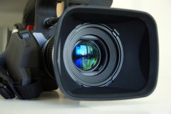 Professional video camera. Detail of Professional video camera Royalty Free Stock Image
