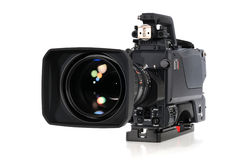 Professional video camera. Isolated on a white background Royalty Free Stock Image