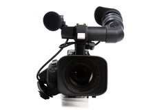 Professional video camera. Isolated on a white background Royalty Free Stock Images