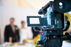 Professional video camera. Monitor of video camera during a videosurvey Stock Photography