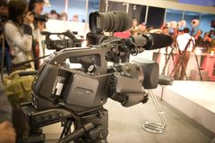 Professional video camera. At the exhibition Royalty Free Stock Image